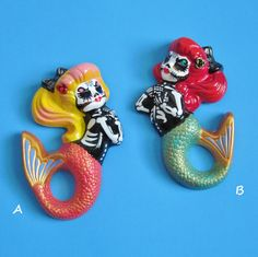 :)   Day of the Dead MERMAID Art Wall Hanging  CUSTOM by illustratedink on Etsy