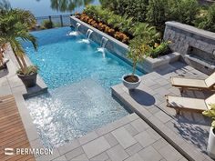 Small wall with fireplace to block Julie. Plant of edge of pool. wide shallow area