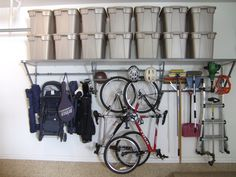 organized garage - using wall space really helps free up floor space
