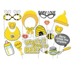 17pcs Cute Bee Theme Baby Shower Party Photo Booth Props DIY On A Stick  | eBay