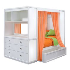 Ideas for the house on pinterest enclosed bed bunk bed - Enclosed beds for adults ...