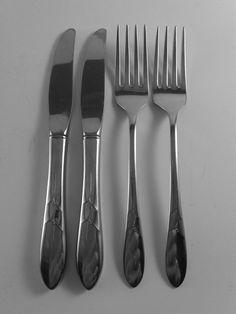 Oneida Deluxe DEBONAIR Youth Forks & Knives 4 pc Oneidacraft Stainless Flatware #ONEIDA