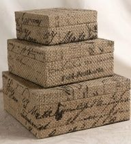 burlap boxes | burlap covered boxes