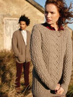 Knit this womens cable sweater from Wintertide. A design by Martin Storey using British Sheep Breed DK Undyed, a beautiful soft yarn spun entirely from the Bluefaced Leicester, Jacob and Suffolk breeds of sheep  and comprising 100% British wool. This knitting pattern is suitable for the more experienced knitter.