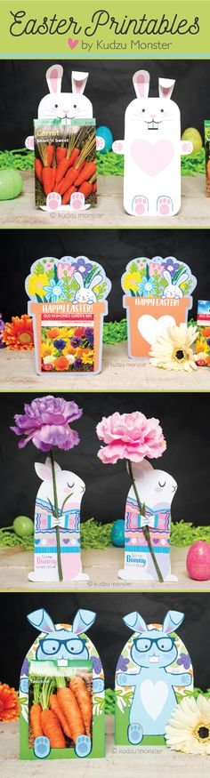 Easy instant download printable Easter cards for Spring flowers and gardening!  Cute and unique gift kids can take to school to give their friends or for Easter Brunch party favors