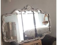 Large Silver Wall Mirror carved ornate framed silver wall mirror | house stuff | pinterest