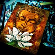 White Violet Art: First Buddha Painting.Click the link now to find the center in you with our amazing selections of items ranging from yoga apparel to meditation space decor! Buddha Kunst, Buddha Art, Indian Art Paintings, Paintings I Love, Buddha Painting, Watercolor Projects, Buddha Buddhism, Art Plastique, Portrait Art