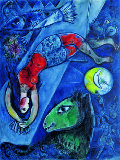 Chagall...gypsy...blue... Love.  http://www.previticreativestudio.com/OZ.html - Chagall meets Balla in the whirling dance of forms and colours!