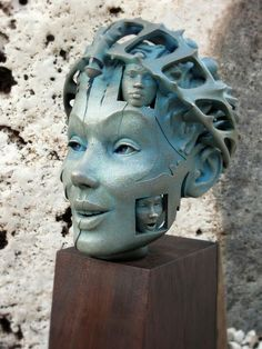 Stainless Steel &   				Bronze, 6.25 x 6.25 x 11.5  Gil Bruvel