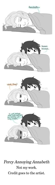 Percy Annoying Annabeth - I just compiled the images together.  If anyone knows the source artist, please comment so I can credit them. Thank you!