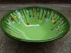 Keramik Gabi Winterl, Schüssel mit Blumenwiese (Cool Paintings)