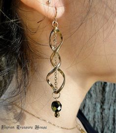 Fairy Jewelry Renaissance Jewelry Medieval Jewelry Game of Thrones Jewelry Golberry's Forest Swirl Earrings Emerald Czech by IllyrianTreasure, $6.00