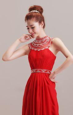 Luxury beaded neck chiffon flower length dress