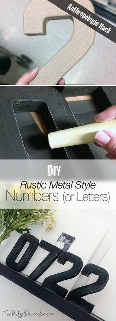DIY Industrial Rustic Metal Style Numbers or Letters Diy And Crafts, Arts And Crafts, Letters And Numbers, Metal Numbers, Idee Diy, Letter A Crafts, Decorating On A Budget, Diy Projects To Try, Decoration
