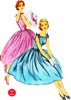 Vintage Sewing Pattern 1950s McCall's 3260 Sleeveless Dress with Low Cut Back and Full Skirt Size 14 Bust 34