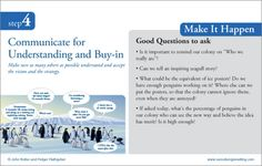 STEP FOUR-- Communicate for Understanding and Buy-in:  8 step process to leading change
