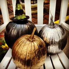 Shimmery metallic spray painted Halloween pumpkins. #Halloween #pumpkins #decorations