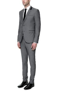 GREY SUIT WITH CONTRASTING COLLAR - Suits - Man | ZARA United States
