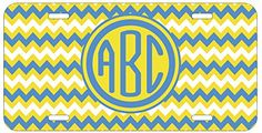 Personalized Monogrammed Chevron Yellow Light Blue Car License Plate Auto Tag Top Craft Case http://www.amazon.com/dp/B00LOWOS7O/ref=cm_sw_r_pi_dp_mpptub059SCST
