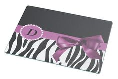 Rikki Knight Letter ' D ' Violet Zebra Bow Monogram Large Glass Cutting board Workspace Saver (Ideal Gift for Barbecues Grills or any occassion) -- Discover this special product, click the image : Cutlery Knife Accessories