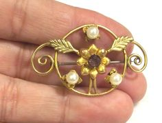 Vintage Brooch, Rhinestone Pin, Retro Jewelry, Flower Motif, Signed Hobson, 1940s  Jewelry, Gold Filled Pin by SophiesAgora on Etsy