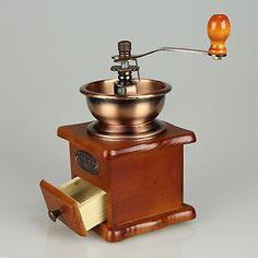 Applique antique ceramic burr coffee bean grinder/mill,new nature wood housing