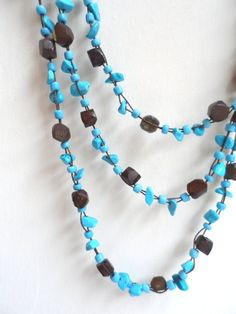 Turquoise and wood beaded necklace by SquareApple on Etsy, £12.00