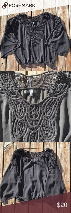 Sheer Flowy Sanctuary Top Loose and flowy never worn/washed black top!! Really cute bell sleeves! Sanctuary Tops Blouses