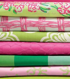 color mix, elle decor, lilli pulitz, lilly pulitzer, pattern, spring colors, wedding linens, dorm rooms, upholstery fabrics