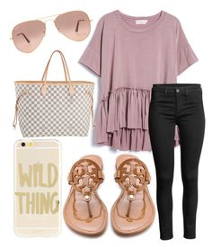 A fashion look from November 2016 featuring crew-neck shirts, skinny jeans and tory burch sandals. Browse and shop related looks. Fall College Outfits, Summer School Outfits, Summer Outfits Women, Outfits For Teens, Spring School, Preppy Outfits, Casual Winter Outfits, Fashion Outfits, Elegant