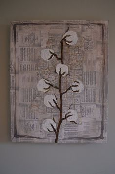 Mississippi cotton stalk artwork painting on map of counties grey on Etsy, $185.00