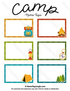 Free printable camp name tags. The template can also be used for creating items like labels and place cards. Download the PDF at http://nametagjungle.com/name-tag/camp/