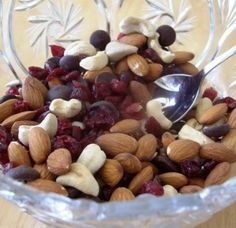 Karen's Fruit & Nut Trail Mix « Karen's Recipes  Individual servings can be put into snack-size ziplock bags. Also, use as a topping for cooked oatmeal for a great breakfast idea.