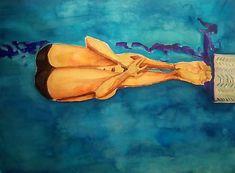 ArtDia / Skok do vody Swimmers, Grey, Pink, Painting, Pools, Gray, Painting Art, Paintings, Pink Hair