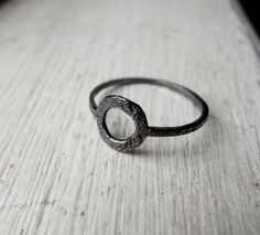 Rustic Oxidized Circle Modern Ring Sterling by FemmeMecanique