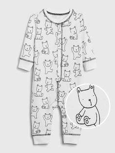 Baby Softspun Bear One-Piece   Gap Old Navy Gap, Gap Kids, Unisex Baby, Pjs, Size Chart, Crew Neck, Dressing, Men Casual, Rompers