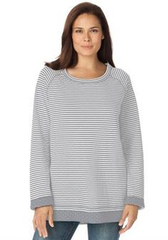 Plus Size Knit sweatshirt reverses from stripes to dots #plussize #womanwithin