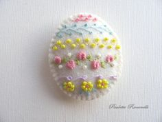 Embroidered Felt Easter Egg Pin    1 via Etsy