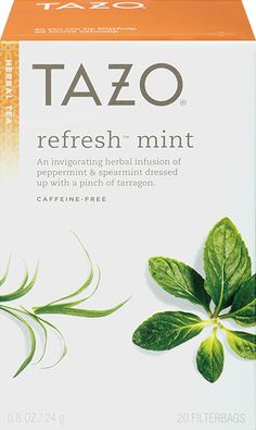 Tazo Refresh™ Mint Herbal Tea | An invigorating herbal infusion of peppermint and spearmint dressed up with a pinch of tarragon. | The rich flavor of the peppermint and the intensity of the spearmint jump, skip and roll down grassy hills while the warm hint of sweet tarragon wonders what all the rush is about.