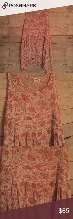 Free People Voile Lace Trapeze Dress FP Floral Voile Lace Trapeze Dress Tunic. Can be worn as a cute tunic with jeans, or as a dress! Great for layering! Size Medium. Handwashed once, but never worn. No flaws Free People Dresses