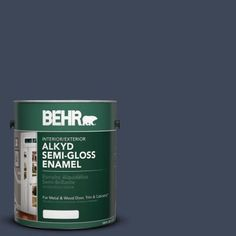 BEHR 1-gal. #AE-42 Academic Navy Semi-Gloss Enamel Alkyd Interior/Exterior Paint-393001 at The Home Depot