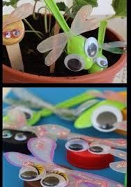 Activities with recycled materials - fun insects to make with plastic spoons. If googly eyes are too expensive to have on hand, make lots of eye with recycled card/paper, to have ready for little projects.