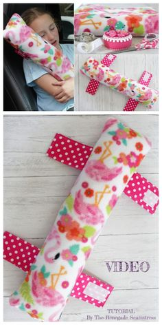 DIY Seat Belt Travel Pillow Free Sewing Patterns + Video – Famous Last Words Sewing Patterns Free, Free Sewing, Sewing Hacks, Sewing Tutorials, Fabric Crafts, Sewing Crafts, Seat Belt Pillow, Diy Pillows, Sewing Pillows
