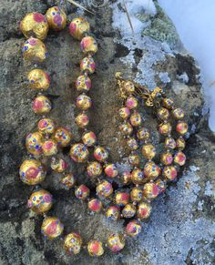 Double-Stranded Pink and Gold Murano Glass Lampwork Beaded Necklace with Roses and Decorative Gold Over Brass End Caps