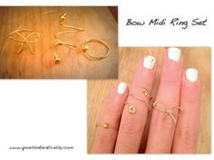 3 Midi Ring Set. Bow style and beaded rings. Gold by QuartznKarats Visit www.quartznkarats.etsy.com for great #cuffs #earrings #midi #rings #style #fashion #piercings #faux