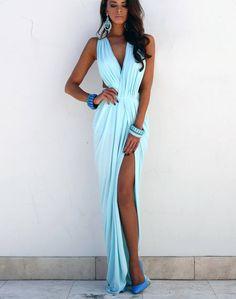 Baby Blue Peplum Maxi Dress