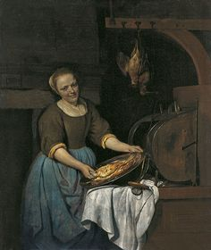 Gabriel Metsu (Dutch Baroque Era Painter, The Cook 1657 ~ It's About Time: Preparing the Harvest - Food & Cooking in Europe Gabriel Metsu, Canvas Art Prints, Oil On Canvas, Renaissance Kunst, Johannes Vermeer, Dutch Golden Age, Baroque Art, Dutch Painters, Dutch Artists