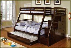 Queen bed bunk bed .  Guest bedroom idea?