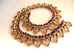 TRIFARI 1949s Rhinestone Heart Necklace  Vintage by RAKcreations