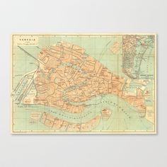 Vintage Map of Venice Stretched Canvas - $85.00